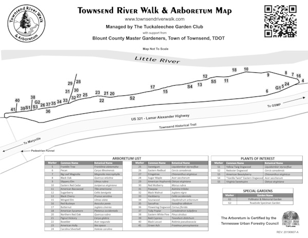 Townsend River Walk & Arboretum Trail Map