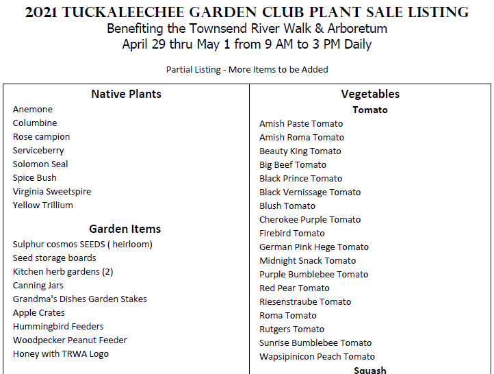 Tuckaleechee Garden Club Plant Sale Item List